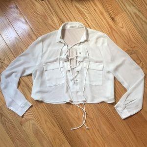 LF Millau mesh cropped blouse/ Size S